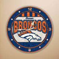 Denver Broncos NFL Stained Glass Wall Clock