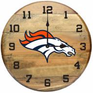 Denver Broncos Oak Barrel Clock
