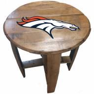 Denver Broncos Oak Barrel Table