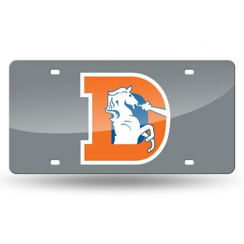 Denver Broncos Retro Silver Laser License Plate
