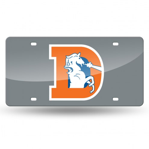 Denver Broncos Retro Silver Laser License Plate