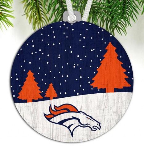 Denver Broncos Snow Scene Ornament