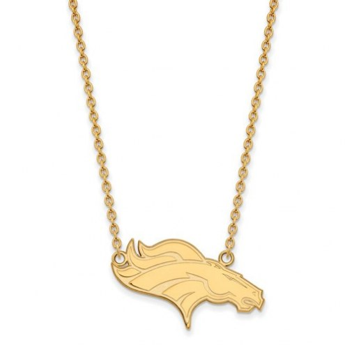 Denver Broncos Sterling Silver Gold Plated Large Pendant with Necklace