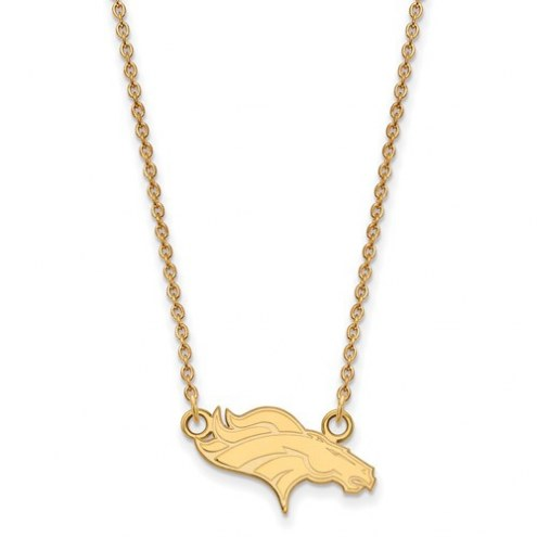 Denver Broncos Sterling Silver Gold Plated Small Pendant with Necklace