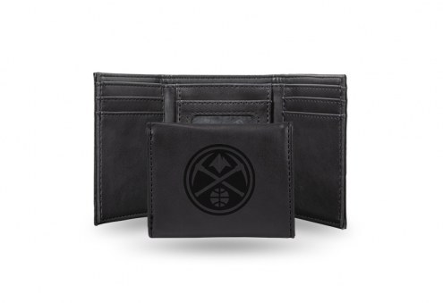 Denver Nuggets Laser Engraved Black Trifold Wallet