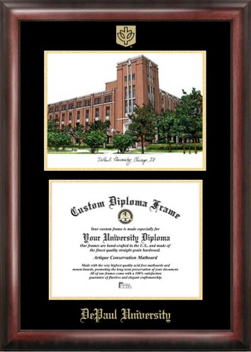 DePaul Blue Demons Gold Embossed Diploma Frame with Lithograph