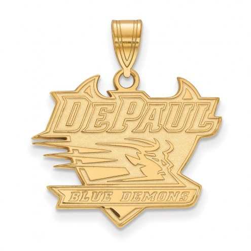 DePaul Blue Demons Sterling Silver Gold Plated Large Pendant