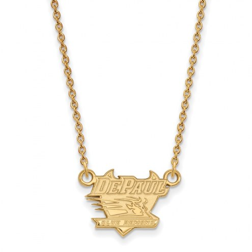 DePaul Blue Demons Sterling Silver Gold Plated Small Pendant Necklace