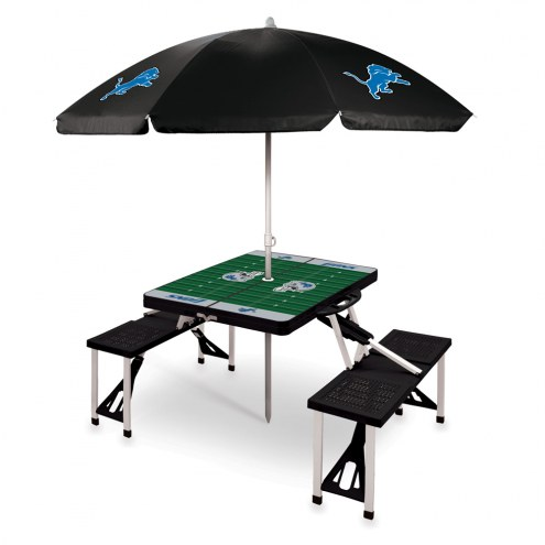 Detroit Lions Black Picnic Table w/Umbrella