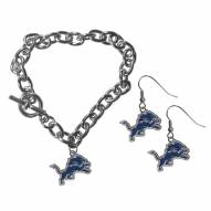 Detroit Lions Chain Bracelet & Dangle Earring Set