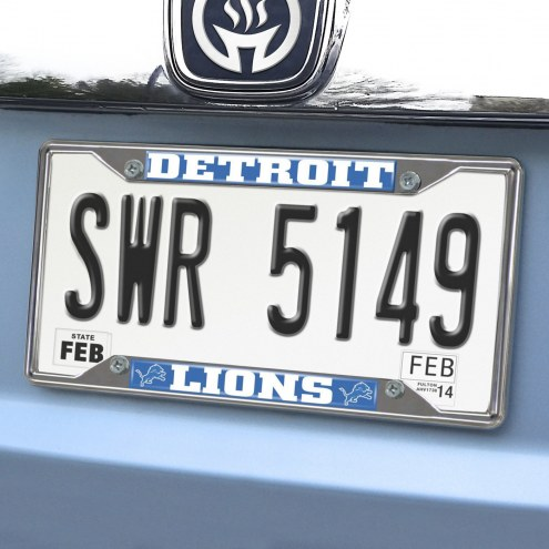 Detroit Lions Chrome Metal License Plate Frame