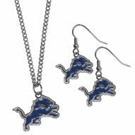 Detroit Lions Dangle Earrings & Chain Necklace Set