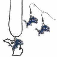 Detroit Lions Dangle Earrings & State Necklace Set