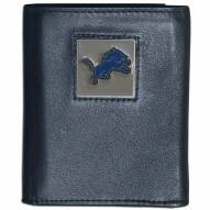 Detroit Lions Deluxe Leather Tri-fold Wallet in Gift Box