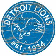 Detroit Lions Distressed Round Sign