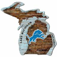 Detroit Lions Distressed State with Logo Sign