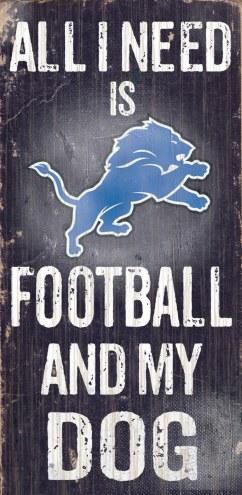 Detroit Lions Football & Dog Wood Sign