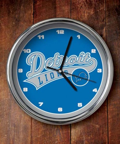 Detroit Lions NFL Chrome Wall Clock
