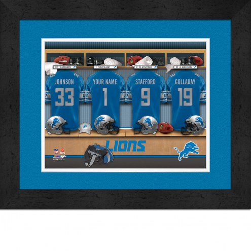 Detroit Lions Personalized Locker Room 13 x 16 Framed Photograph