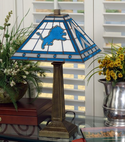 Detroit Lions Stained Glass Mission Table Lamp