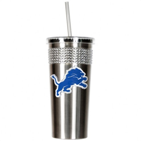 Detroit Lions Stainless Steel Bling Tumbler with Straw