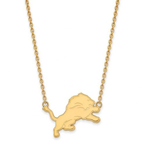 Detroit Lions Sterling Silver Gold Plated Large Pendant with Necklace