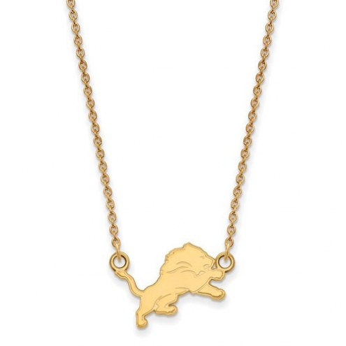 Detroit Lions Sterling Silver Gold Plated Small Pendant with Necklace