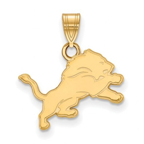 Detroit Lions Sterling Silver Gold Plated Small Pendant