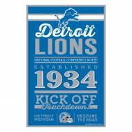 Detroit Lions Established Wood Sign