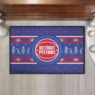 Detroit Pistons Christmas Sweater Starter Rug