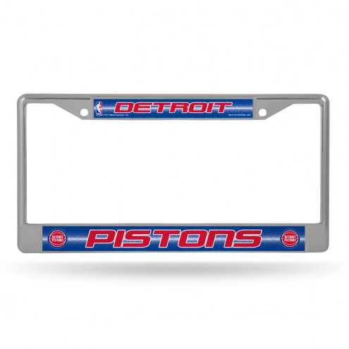 Detroit Pistons Chrome Glitter License Plate Frame