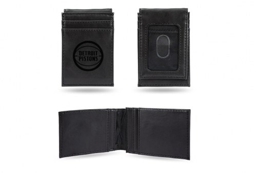 Detroit Pistons Laser Engraved Black Front Pocket Wallet