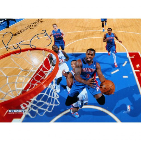 """Detroit Pistons Rodney Stuckey At the Basket in Blue Jersey Signed 16"""" x 20"""" Photo"""