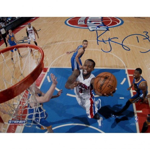 """Detroit Pistons Rodney Stuckey At the Basket in White Jersey Signed 16"""" x 20"""" Photo"""