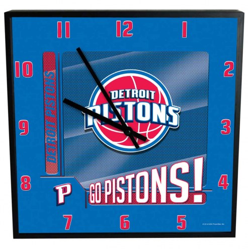 Detroit Pistons Team Black Square Clock