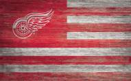 """Detroit Red Wings 11"""" x 19"""" Distressed Flag Sign"""