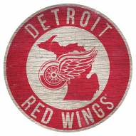 """Detroit Red Wings 12"""" Circle with State Sign"""