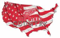 """Detroit Red Wings 15"""" USA Flag Cutout Sign"""