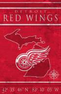 """Detroit Red Wings 17"""" x 26"""" Coordinates Sign"""