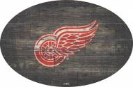 """Detroit Red Wings 46"""" Distressed Wood Oval Sign"""