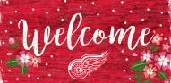 """Detroit Red Wings 6"""" x 12"""" Floral Welcome Sign"""