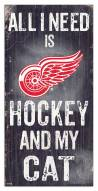 """Detroit Red Wings 6"""" x 12"""" Hockey & My Cat Sign"""