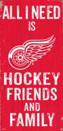 """Detroit Red Wings 6"""" x 12"""" Friends & Family Sign"""