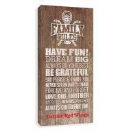 Detroit Red Wings Family Rules Icon Wood Printed Canvas