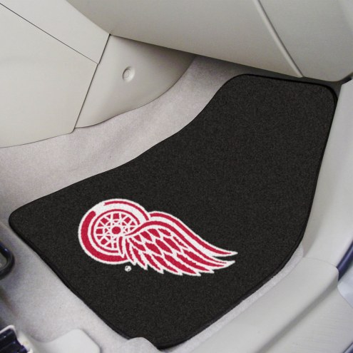 Detroit Red Wings Black 2-Piece Carpet Car Mats