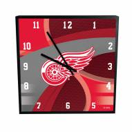Detroit Red Wings Carbon Fiber Square Clock