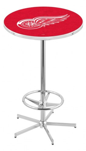 Detroit Red Wings Chrome Bar Table with Foot Ring