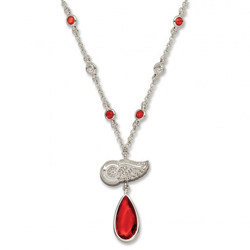 Detroit Red Wings Crystal Logo Necklace