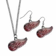 Detroit Red Wings Dangle Earrings & Chain Necklace Set