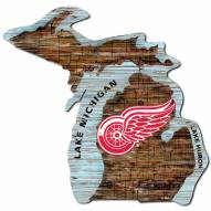 Detroit Red Wings Distressed State with Logo Sign